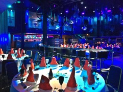 Christmas in July - tables set up in the main room in PRYZM Cardiff