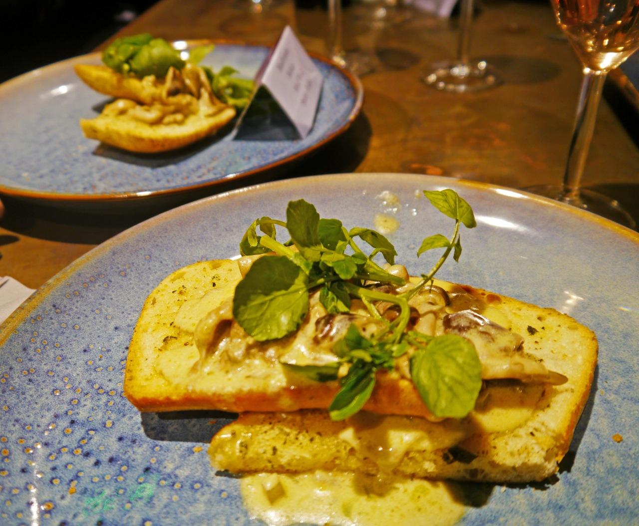 Garlic and herb creamy mushrooms on focaccia bread