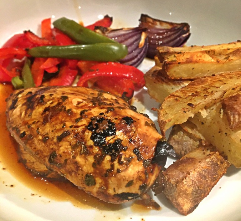 Balsamic and Schwartz Oregano Recipe with chips and roast veg