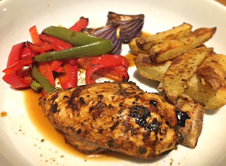 Balsamic and Schwartz Oregano Recipe with chips and roast vegetables